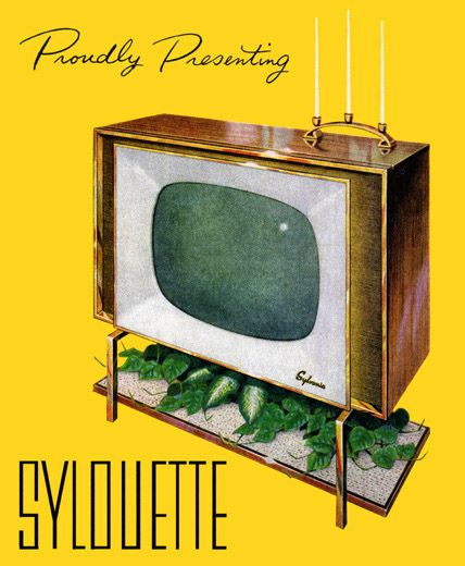 "imperialgoogie:  midcenturymodernfreak:  1957 ""Sylouette"" Television by Sylvania - Via  The only television set that needs monthly trimming."