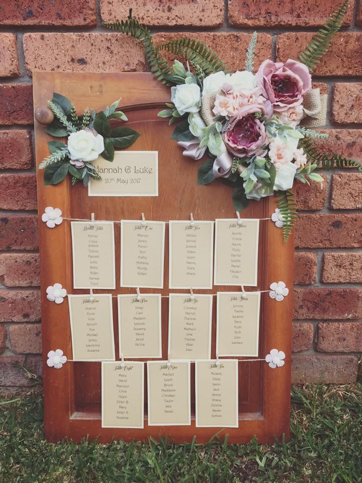 Little rustic door with your table seating plan