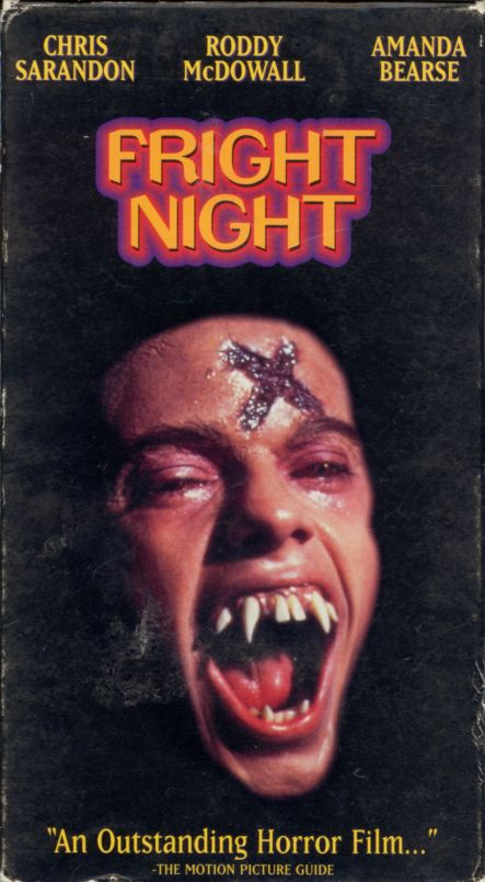 Fright Night on VHS. Movie starring Chris Sarandon, William Ragsdale, Amanda Bearse, Roddy McDowall, Stephen Geoffreys. Written and directed by Tom Holland. 1985. From the VHS box: Meet Jerry Dandr...