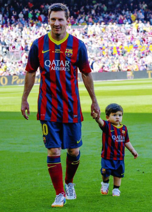 Thieago and Messi❤️  Son and Father Pic