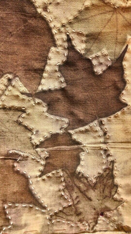 Maple leaves on linen. By Cherie Livni