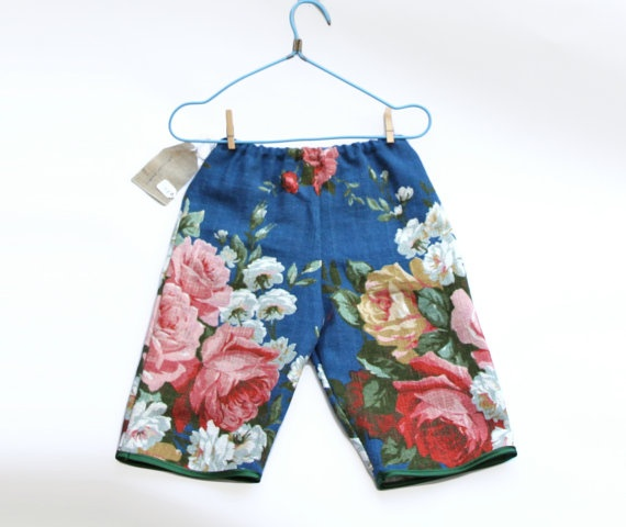 24yrs Floral Pants in Vintage Upholstery Linen by cobbledtogether, $40.00