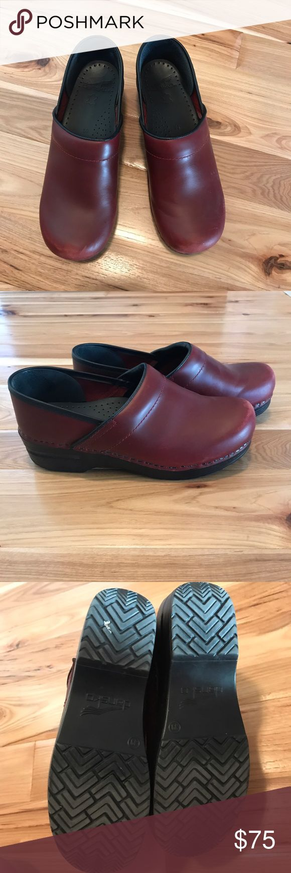 Dansko pro clog crimson leather upper size 39 Dansko professional clog. Crimson leather uppers. Hardly worn and in great condition! Minor scuffing on toes, as shown in pics, hardly noticeable. Size is euro 39- equivalent to US 9 Dansko Shoes Mules & Clogs
