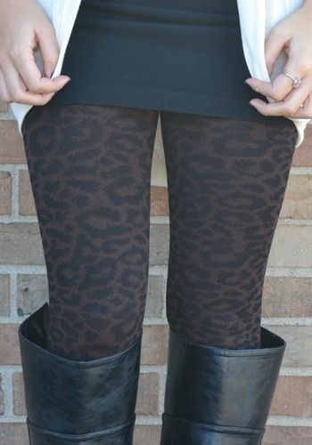 cute subtle cheetah leggings.  I want COOL FALL WEATHER.  I miss Leggings and boots and chunky sweaters and scarves.