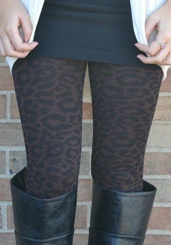 Leopard Pattern Footless Pantyhose