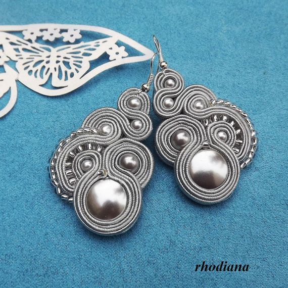 Silver Grey Soutache Earrings