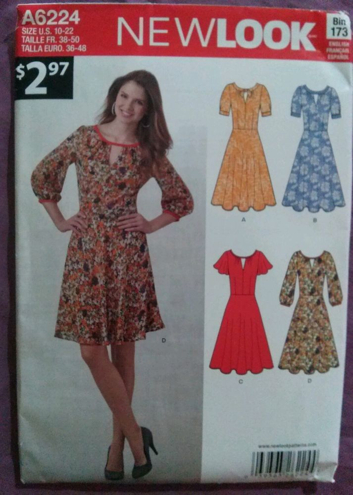 Rare NEW LOOK #A6224-Misses Keyhole Dress-Szs10-22-NEW      this #rare #NewLookA6224 #sewingpattern #makes a #misses #sweet and yet #sexy #keyhole #dress #sizes10thru22 and comes to you in #NOS condition!