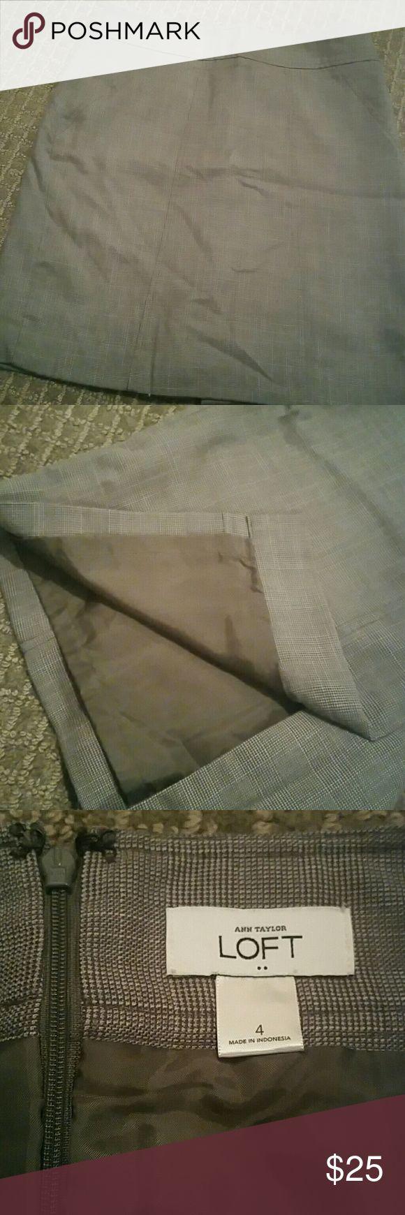Fine line plaid lined pencil skirt Ann Taylor Loft | Fine line plaid lined pencil skirt LOFT Skirts Pencil