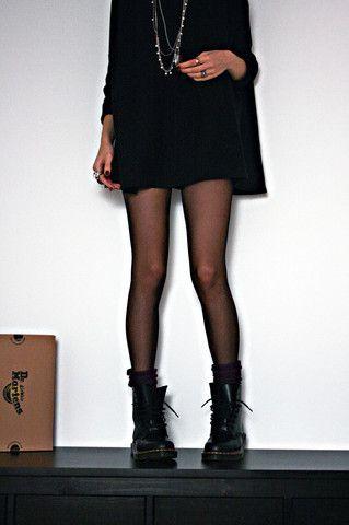 original grunge: black Doc Martens, black flowy dress / oversized sweater, black stockings socks: