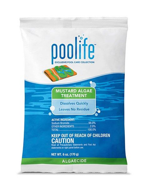 poolife® Mustard Algae Treatment This product helps clear away slimy yellow and mustard algae in swimming pools. When used as directed, this product clears water quickly and can be used in any type of swimming pool.