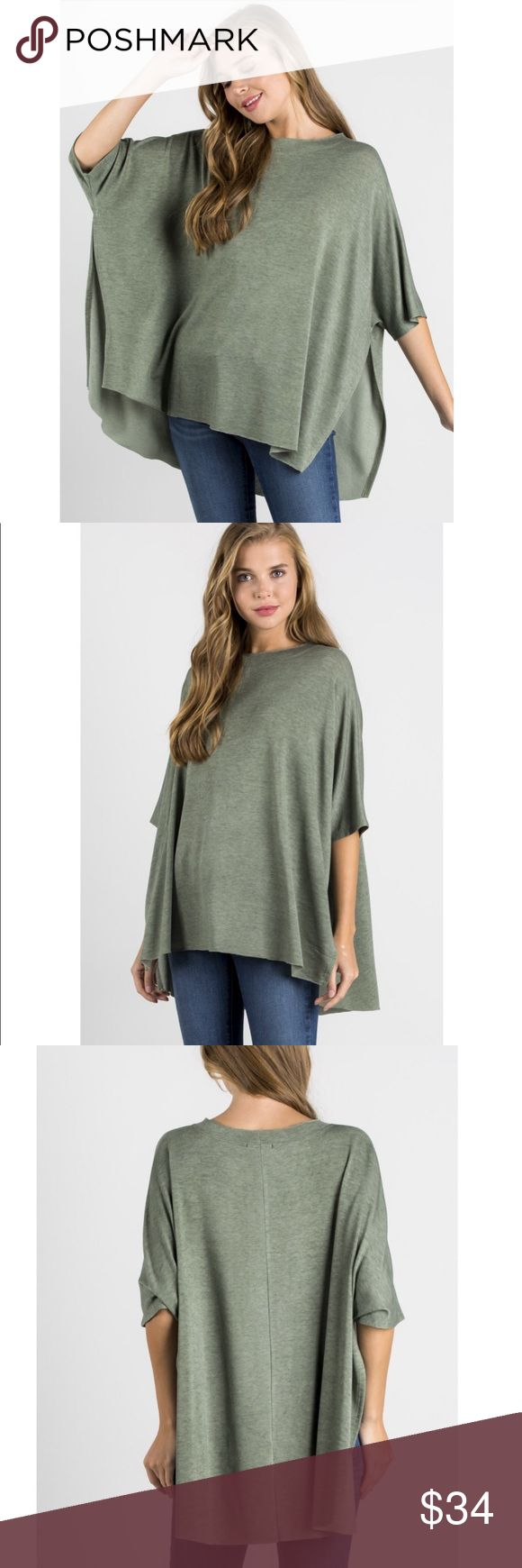 Draped Loose Swing Tunic Top with Side Slits This is such a fun way to wear your basics on a casual day! Side slit  will show a cute cami underneath. Fabric is soft with stretch.   Cotton Bleu is a trusted boutique vendor and makes quality clothing in the USA.  73% polyester, 23% rayon, 4% spandex. Also available in a neutral oatmeal color under separate listing in this closet.  Bundle 2+ items from this closet for a discount. Cotton Bleu Tops Tunics