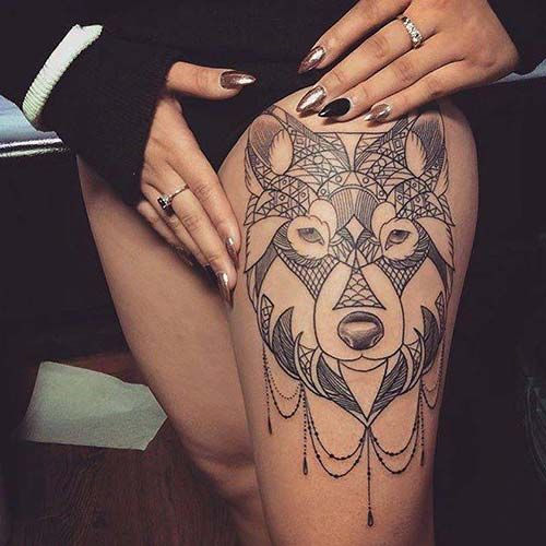 Womens Wolf Tattoo Thigh Tattoos Women Wolf Womens Thigh: 102 Best Üst Bacak Dövmeleri / Thigh Tattoos Images On