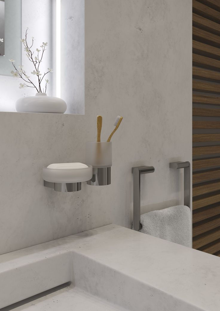 Picture Collection Website Teak slatted walling adds a soft warming element to the cool hard marble d cor of this