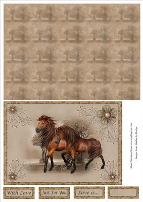 2 Horses Card Front with Backing Paper on Craftsuprint designed by Jean Gordon - This sheet has a picture of two horses in a frame.Co-ordinating background is also included along with w greeting tiles readingWith LoveJust for YouLove isand one blank - Now available for download!