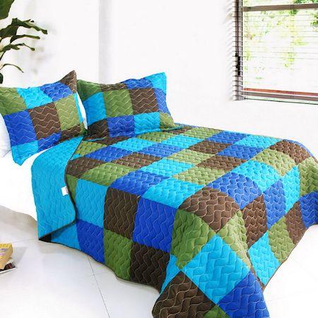 blue green brown patchwork bedding teen boy girl full. Black Bedroom Furniture Sets. Home Design Ideas