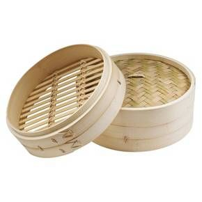 imusa asian bamboo steamer with lid cream