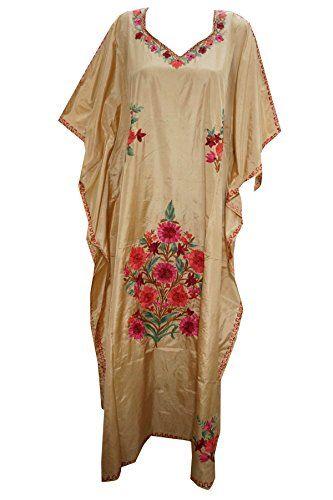 Mogul Kashmiri Embroidered Boho Silk Caftan Lounger Dress Kimono Kaftan Mogul Interior http://www.amazon.ca/dp/B015MLROYG/ref=cm_sw_r_pi_dp_w6UXwb1BD76DV