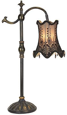 """""""Black Lace Lamp"""" from the """"Victorian Trading Company"""".  Be still my Gypsy soul. I love the corset imagery this casts. Light filters through an embroidered lace shade to dance in patterns upon the wall.  The muted illumination blends beautifully with romantic home decor. Fabric/Brass. 27"""" tall. #Gypsy #Bohemian"""