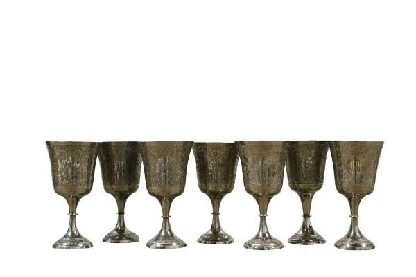 Tarnished Silver Goblet - Etched || Silver tarnished goblet with etched design. Dimensions: 3 1/2 x 6 1/4. Quantity: 13.