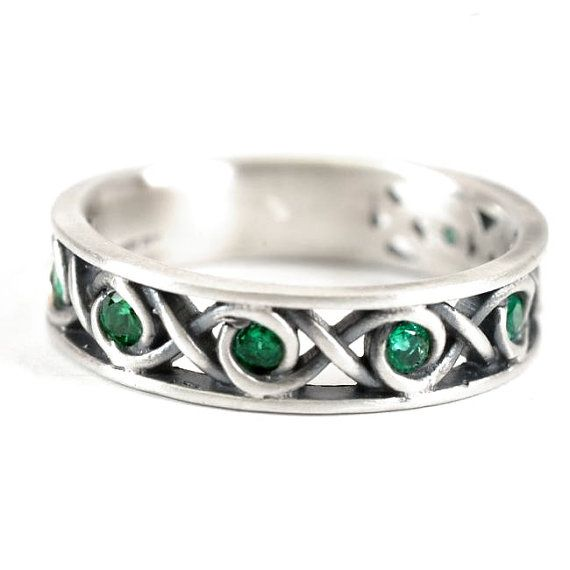 sterling celtic ring green emerald stones with infinity