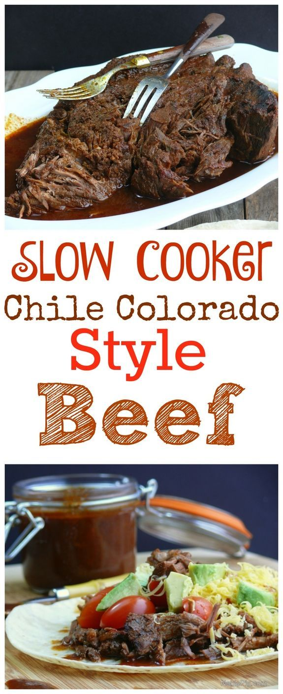 Slow Cooker Chile Colorado Style Beef is so easy to make. Serve with a warm tortilla from NoblePig.com.