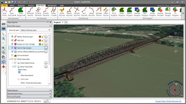 HEC-RAS 3D visualization of the Sciotoville Bridge. The Sciotoville Bridge is a steel continuous truss bridge carrying tracks of CSX Transportation across the Ohio River between Siloam - a junction located north of Limeville,  Kentucky and east of South Shore, Kentucky - and Sciotoville, Ohio in the United States. https://en.wikipedia.org/wiki/Sciotoville_Bridge