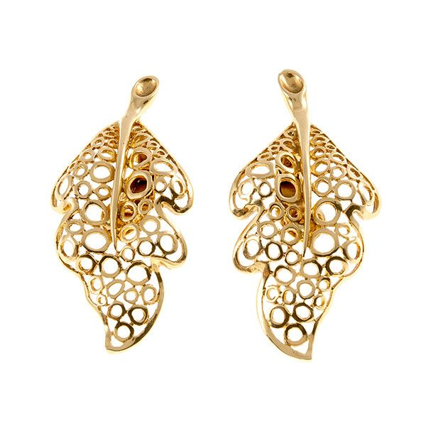 Modern leaf shaped golden earclips by Lalaounis