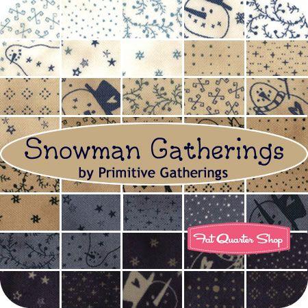 Snowman Gatherings Fat Quarter Bundle Primitive Gatherings for Moda Fabrics - Fat Quarter Shop