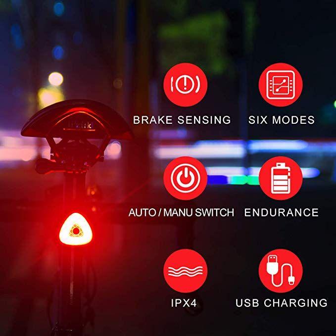 Bohsrl Bike Tail Light Smart Brake Sensor Usb Rechargeable