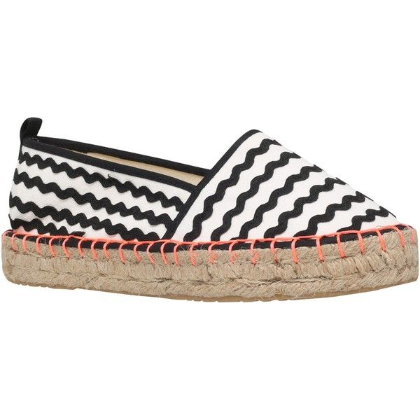 Miss KG Dottie Espadrilles, Black/White ($58) ❤ liked on Polyvore featuring shoes, sandals, flat espadrilles, braided sandals, slip on shoes, canvas espadrilles and flat sandals