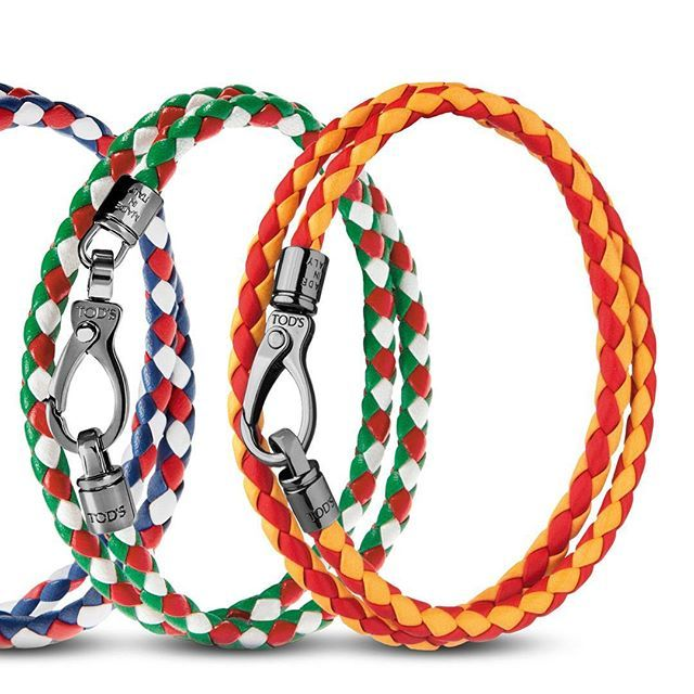 Celebrating the European Football Championship starting today in #Paris with a special edition of the #mycolors bracelets, available in select boutiques. Choose your colour at tods.com #Tods #EURO2016