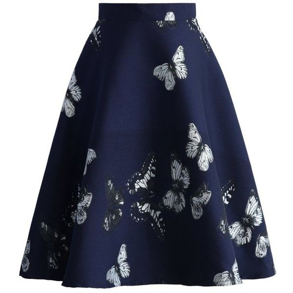 Chicwish Serene Butterfly Intarsia A-line Skirt ($49) ❤ liked on Polyvore featuring skirts, blue, midi skirt, a line skirt, mid calf skirt, knee length a line skirt and butterfly skirt