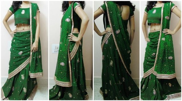 Cocktail look: Pleat the dupatta and secure with pin on left shoulder, let it fall till your knee. Take one corner of the dupatta from back side and bring it to front around your waist and tuck it on left side of lehenga as in the picture.