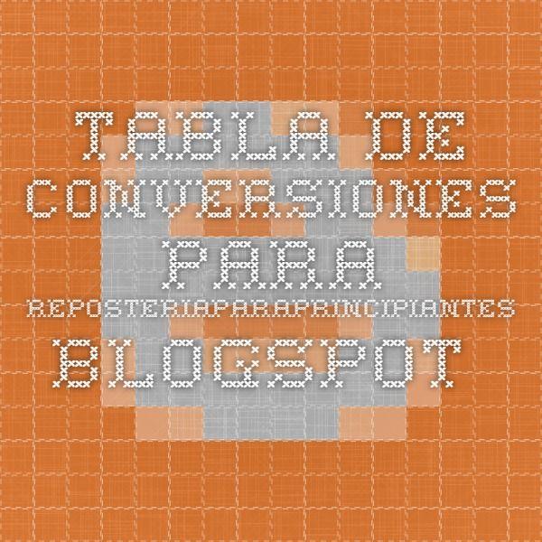 Tabla de conversiones para reposteriaparaprincipiantes.blogspot.com.es