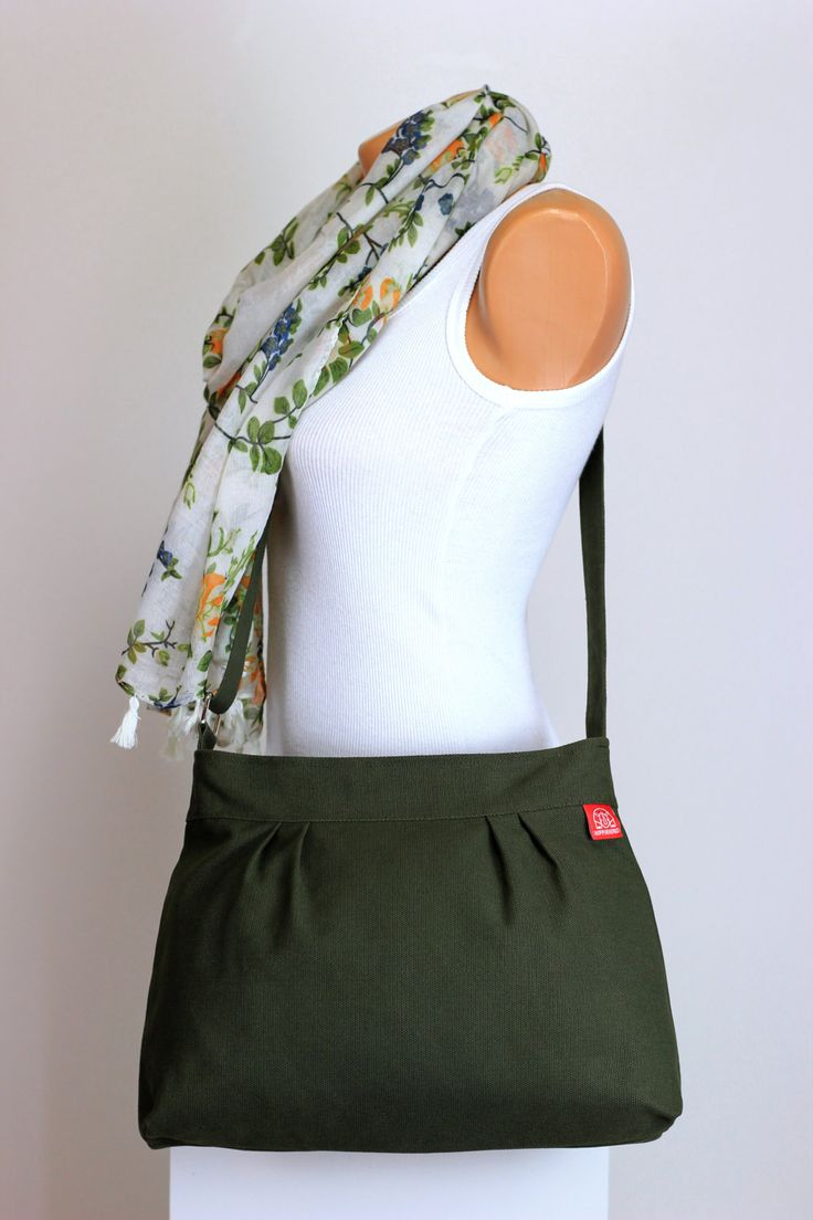 $33  Small & Sweety Purse Washable Durable Canvas Military Green Pleated Shoulder bag Crossbody Bag Women Accessories High quality hippirhino by hippirhino