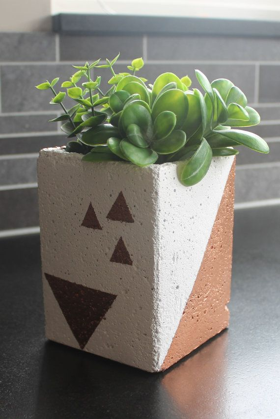 Concrete Planter Copper by nimwitstudio on Etsy, €18.17