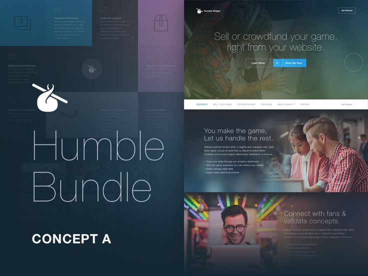 The first iteration of Humble Bundle's developer widget landing page. They ended up going with a simplified iteration.