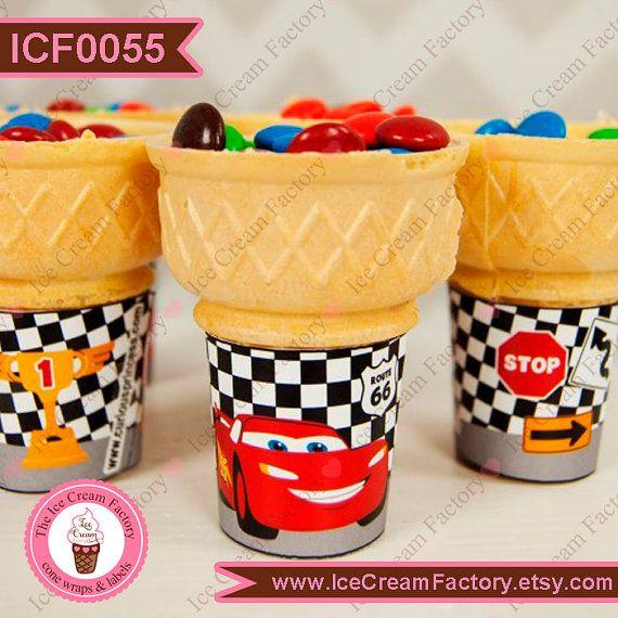 Racing race cars cute flat bottom ice cream by IceCreamFactory