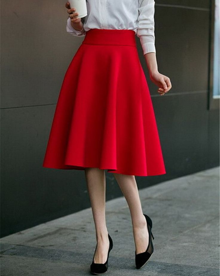 Item Type: Lady Like Cute And Pretty High Waist Skirt Style: Formal, Casual, Work, Office Skirt Material: Cotton Dresses Length: Knee-Length Color: Pink, Red, Black, White, Blue, Dark Red Size: S, M,                                                                                                                                                      More