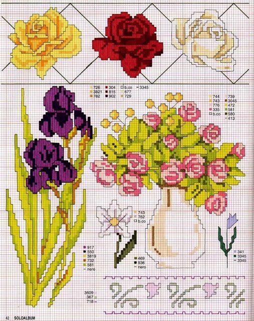 ♥Meus Gráficos De Ponto Cruz♥: Diversas Flores em Ponto Cruz