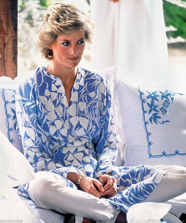 Demure Diana in a Catherine Walker outfit at a picnic in the desert during a tour of Saudi...