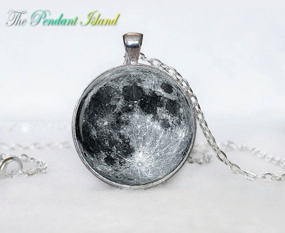 Full Moon Necklace Moon Pendant Galaxy Space Grey Moon Jewelry Necklace for men Art Gifts for Her(