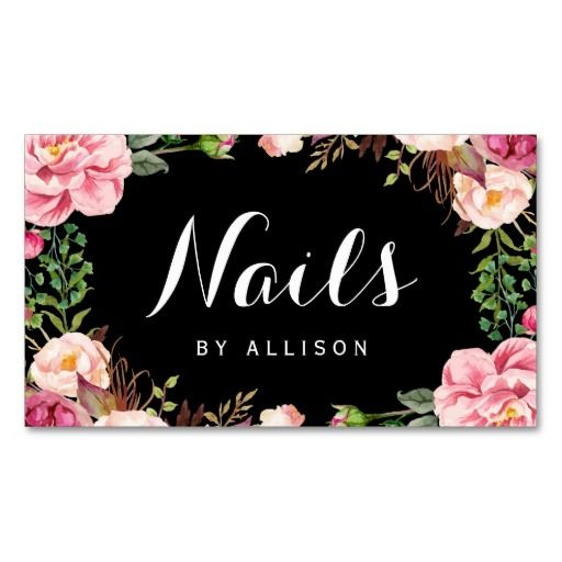 141 best salon business cards images on pinterest business cards nails salon nail technician romantic floral wrap business card colourmoves