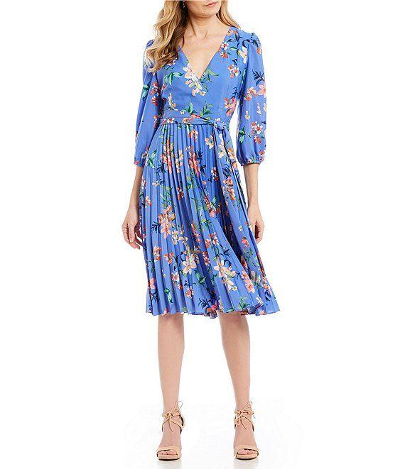 12ffadbcff8 Eliza J Floral Print Pleated Faux Wrap Midi Dress in 2019