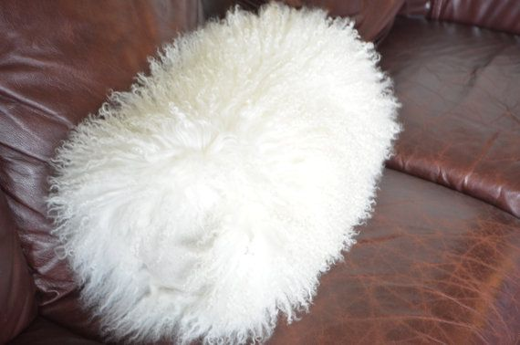 "Mongolian Lamb Fur Bolster Pillow 16"" long"