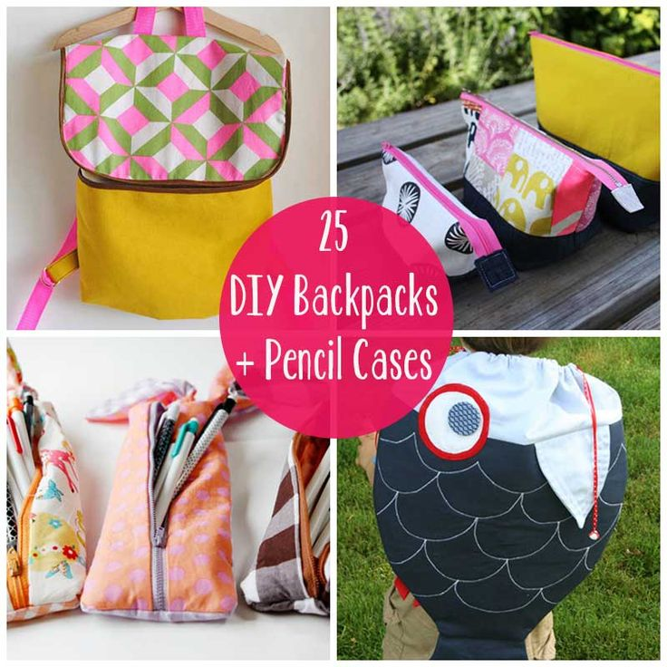 25+DIY+Backpacks+and+Pencil+Cases Especially see the yellow pencil case that can be made without sewing