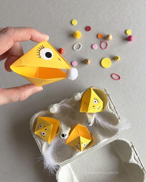 Sortierspiel mit Origami-Vögel: Nestlinge füttern, Kindergarten, mit Kindern basteln; sorting game, kindergarden, Origami, schaeresteipapier