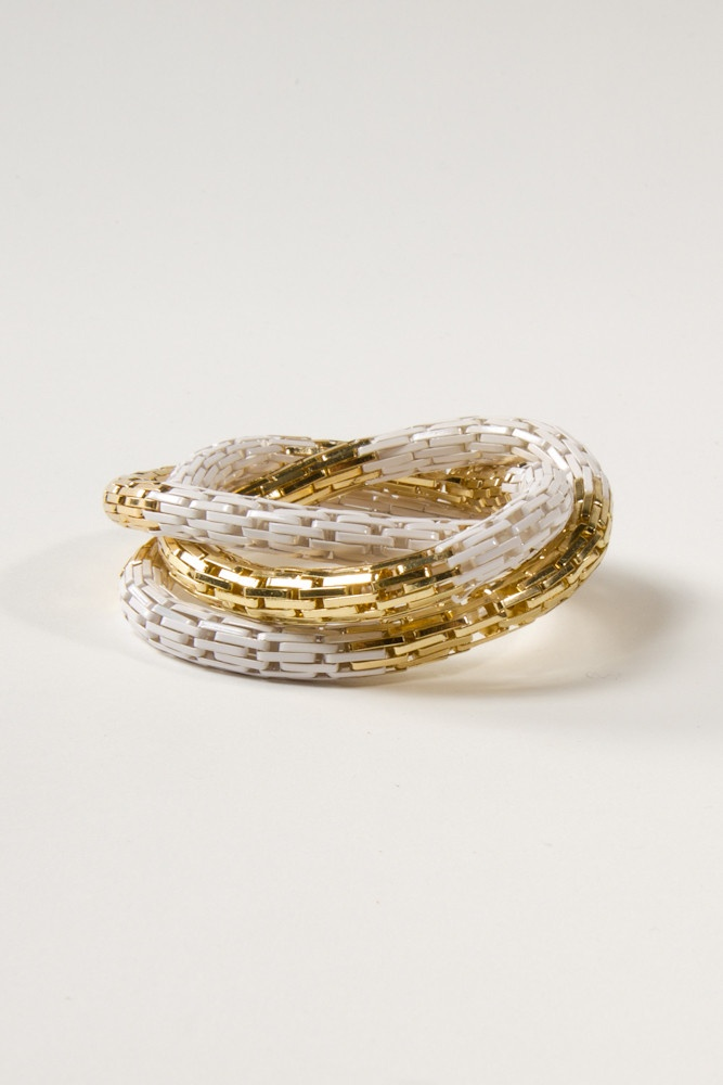 Multi Coil Bracelet in White