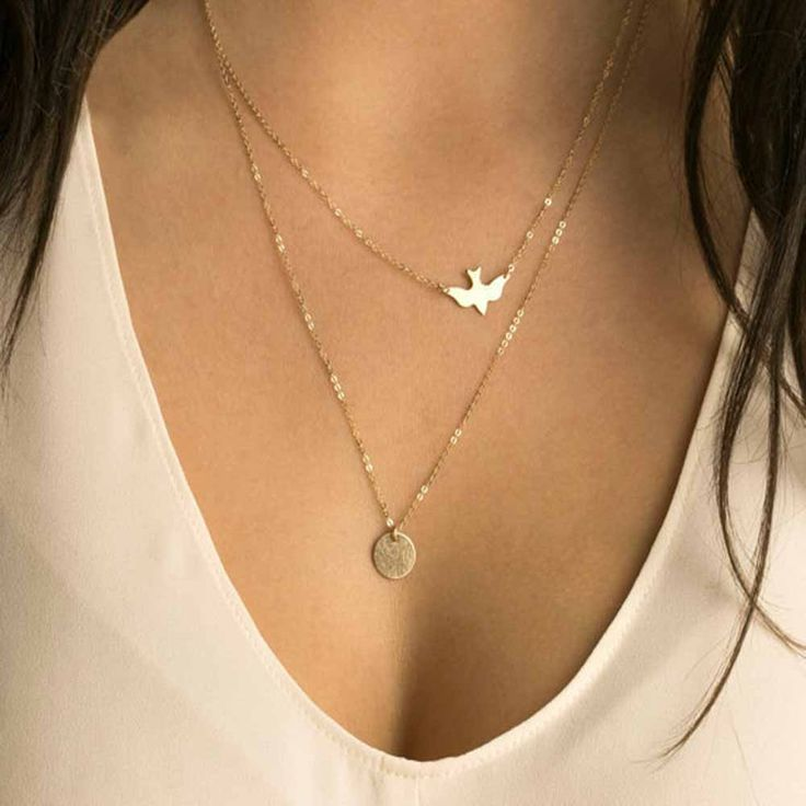 New fashion handmade jewelry summer simple wild lady double peace pigeons gold plated necklace small Swallow Necklace