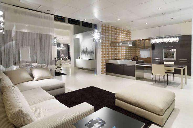 Cucina soggiorno open space con pavimento bianco interior design